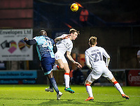 Adebayo Akinfenwa of Wycombe Wanderers scores with a header during the Sky Bet League 2 match between Wycombe Wanderers and Luton Town at Adams Park, High Wycombe, England on the 21st January 2017. Photo by Liam McAvoy.