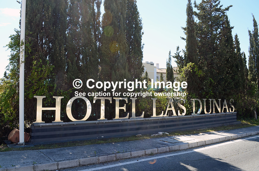 Hotel Las Dunas, Estapona, Malaga Province, Spain, signage, 201302241200..Copyright Image from Victor Patterson, 54 Dorchester Park, Belfast, UK, BT9 6RJ..Tel: +44 28 9066 1296.Mob: +44 7802 353836.Voicemail +44 20 8816 7153.Skype: victorpattersonbelfast.Email: victorpatterson@me.com.Email: victorpatterson@ireland.com (back-up)..IMPORTANT: If you wish to use this image or any other of my images please go to www.victorpatterson.com and click on the Terms & Conditions. Then contact me by email or phone with the reference number(s) of the image(s) concerned.