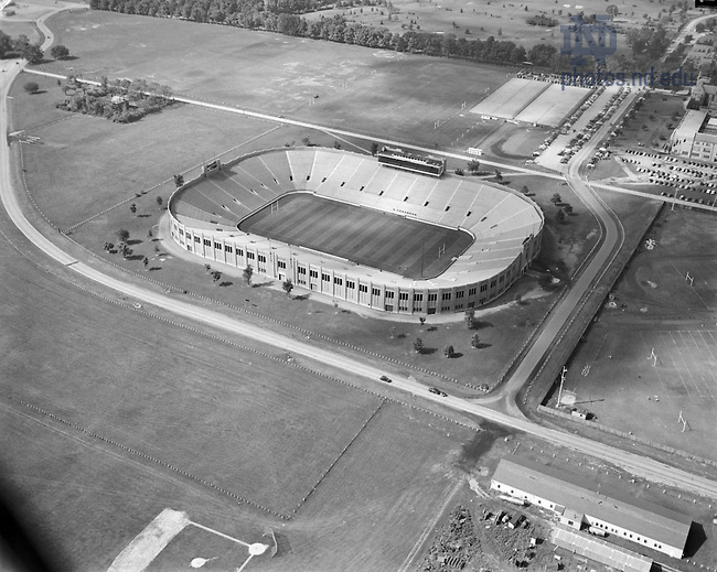 GPHR 45/0057:  Aerial view of Notre Dame Stadium, c1950s..Image from the University of Notre Dame Archives.
