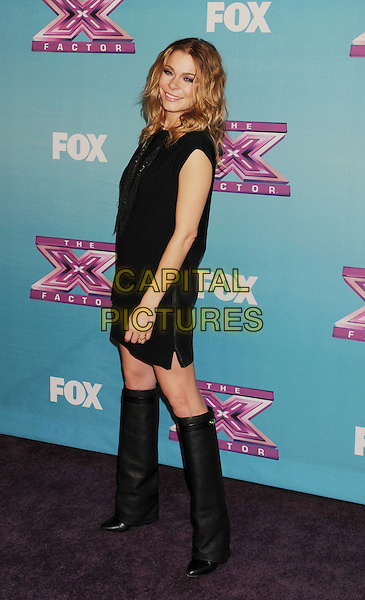 LeAnn Rimes.arriving at Fox's 'The X Factor' Season Finale Night 1 at CBS Televison City in Los Angeles, California, USA, .December 19th, 2012.  .full length black dress knee high boots necklace .CAP/ROT/TM.©Tony Michaels/Roth Stock/Capital Pictures