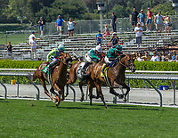ARCADIA, CA APRIL 22:  #4 Inordinate ridden by Corey Nakatani, #5 Syntax ridden by Rafael Bejarano, and #2 Power Foot ridden by Norberto Arroyo, Jr. in the stretch of the San Juan Capistrano Stakes (Grade lll) on April 22, 2017 at Santa Anita Park in Arcadia, CA.(Photo by Casey Phillips/Eclipse Sportswire/Getty Images)