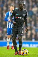 Ngolo Kante of Chelsea (7)  during the Premier League match between Brighton and Hove Albion and Chelsea at the American Express Community Stadium, Brighton and Hove, England on 20 January 2018. Photo by Edward Thomas / PRiME Media Images.