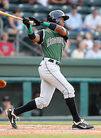 Outfielder Chris Lofton (5) of the Augusta GreenJackets, Class A affiliate of the San Francisco Giants, in a game against the Greenville Drive on August 27, 2011, at Fluor Field at the West End in Greenville, South Carolina. Greenville defeated Augusta, 10-4. (Tom Priddy/Four Seam Images)