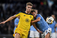 7th November 2019, Rome, Italy; UEFA Europa League football , group stages, Lazio versus Glasgow Celtic;  Kristoffer Ajer of Celtic and Lucas Leiva of Lazio challenge for the ball - Editorial Use