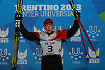 Polish Adam Cieslar at the podium of the Nordic Combined NH / 10 km as part of the Winter Universiade Trentino 2013 on 13/12/2013 in Predazzo, Italy.<br /> <br /> &copy; Pierre Teyssot - www.pierreteyssot.com