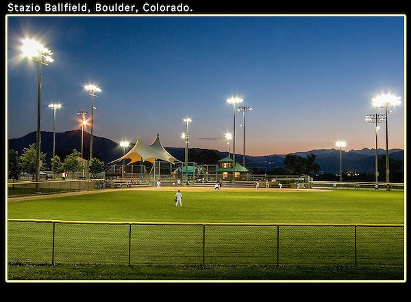 Evening baseball at Stazio Ballfield. From John's 4th book: &quot;Boulder, Colorado: A Photographic Portrait.&quot;<br />