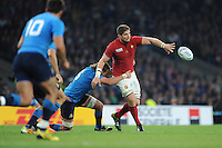 Pascal Papé of France offloads as he is tackled by Joshua Furno of Italy during Match 5 of the Rugby World Cup 2015 between France and Italy - 19/09/2015 - Twickenham Stadium, London <br /> Mandatory Credit: Rob Munro/Stewart Communications