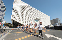 Incoming Occidental College students participate in Oxy Engage with the group LA Icons and tour near the Broad contemporary art museum in downtown Los Angeles, on Aug. 24, 2016.<br /> Oxy Engage is a pre-orientation program that introduces incoming students to the vibrant city of Los Angeles. Upperclassmen facilitators lead trips to experience culture, film, food, nature, social justice, the urban environment, and much more.<br /> (Photo by Marc Campos, Occidental College Photographer)