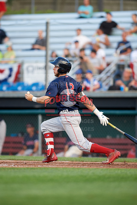 Lowell Spinners center fielder Cole Brannen (18) hits a single during a game against the Auburn Doubledays on July 13, 2018 at Falcon Park in Auburn, New York.  Lowell defeated Auburn 8-5.  (Mike Janes/Four Seam Images)