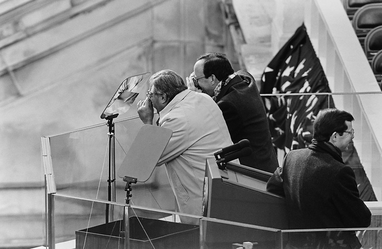 Rep. Ed Pastor, D-Ariz., and Rep. Eliot Engel, D-N.Y., photographing into crowd and at right Rep. Earl Pomeroy, NPL-N.D., at an Inauguration day, on Jan. 20, 1997. (Photo by Laura Patterson/CQ Roll Call via Getty Images)