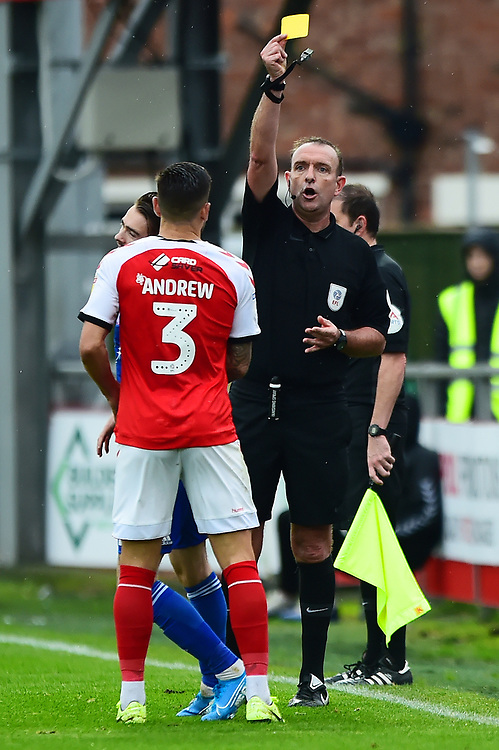 Refere Carl Boyeson shows a yellow card to Fleetwood Town's Danny Andrew<br /> <br /> Photographer Richard Martin-Roberts/CameraSport<br /> <br /> The EFL Sky Bet League One - Fleetwood Town v Ipswich Town - Saturday 5th October 2019 - Highbury Stadium - Fleetwood<br /> <br /> World Copyright © 2019 CameraSport. All rights reserved. 43 Linden Ave. Countesthorpe. Leicester. England. LE8 5PG - Tel: +44 (0) 116 277 4147 - admin@camerasport.com - www.camerasport.com