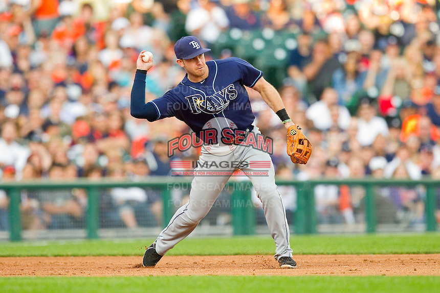 Tampa Bay Rays third baseman Evan Longoria (3) makes a throw to second base against the Detroit Tigers at Comerica Park on June 4, 2013 in Detroit, Michigan.  The Tigers defeated the Rays 10-1.  Brian Westerholt/Four Seam Images