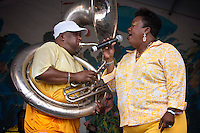 New Orleans jazz sousaphone player Kirk Joseph and his wife Vanessa Joseph of Kirk Joseph's Backyard Groove performs on the Jazz and Heritage stage during the 40th annual New Orleans Jazz & Heritage Festival at the Fair Grounds Race Course  in New Orleans, Louisiana, USA, 30 April 2009.