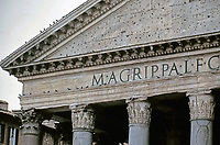 Pediment and capitals detail of the Pantheon, Rome, Italy