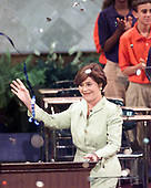 Texas First Lady Laura Bush speaks at the first night session of the Republican National Convention in Philadelphia, Pennsylvania July 31, 2000.  Her husband, Governor George W. Bush (Republican of Texas) is the Republican Party's nominee to run against Democrat Al Gore in the 2000 election.<br /> Credit: Ron Sachs / CNP