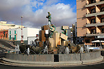 Water fountain sculpture in town centre, Puerto del Rosario, Fuerteventura, Canary Islands, Spain