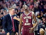 UNCASSVILLE, CT-031818JS19- Sacred Heart's Raheem Solomon (11) reacts after after missing a three-point shot  during their Division I championship game against Notre Dame-Fairfield's Sunday at Mohegan Sun Arena. <br /> Jim Shannon Republican-American