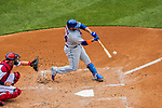 30 April 2017: New York Mets catcher Rene Rivera hits a solo home run in the second inning against the Washington Nationals at Nationals Park in Washington, DC. The Nationals defeated the Mets 23-5 in the third game of their weekend series. Mandatory Credit: Ed Wolfstein Photo *** RAW (NEF) Image File Available ***