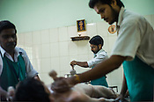 Resident patient get the Shashtika Sali Pinda Sueda (full body rice ayurvedic treatment) at the National Research Institute of Panchakarma in Cheruthuruthy in Thissur district of Kerala, India.