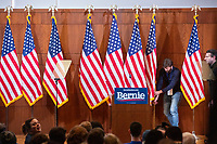 "Flags stand on the stage before Democratic presidential candidate and Vermont senator Bernie Sanders delivers his response to President Donald Trump's State of the Union address earlier that night at The Currier Museum of Art in Manchester, New Hampshire, on Tue., Feb. 4, 2020. Sanders' speech began, ""Tonight, we just listened to Donald Trump's third, and what I believe will be his very last, State of the Union Address."""
