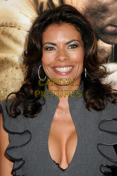"""LISA VIDAL.HBO's """"The Pacific"""" Mini-Series Premiere held at Grauman's Chinese Theatre, Hollywood, California, USA..February 24th, 2010.headshot portrait grey gray ruffle low cut neckline cleavage .CAP/ADM/BP.©Byron Purvis/AdMedia/Capital Pictures."""