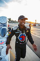 Nov 10, 2017; Pomona, CA, USA; NHRA top fuel driver Antron Brown reacts during qualifying for the Auto Club Finals at Auto Club Raceway at Pomona. Mandatory Credit: Mark J. Rebilas-USA TODAY Sports