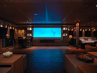 The large saloon converts into a cinema with a 120 inch screen