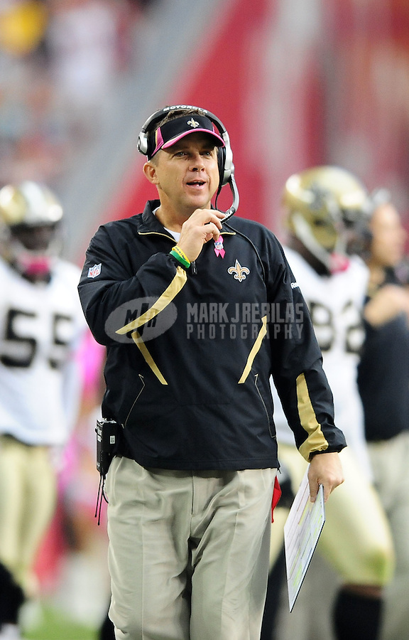Oct. 10, 2010; Glendale, AZ, USA; New Orleans Saints head coach Sean Payton against the Arizona Cardinals at University of Phoenix Stadium. The Cardinals defeated the Saints 30-20. Mandatory Credit: Mark J. Rebilas-
