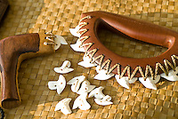 Hawaiian weapon made of wood, shark teeth and cordage; UMI KAI is one of Hawaii's few crafters of Hawaiian weapons and a member of a Hawaiian martial arts group, Pa Ku'i-a-Lua.