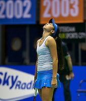 18-12-13,Netherlands, Rotterdam,  Topsportcentrum, Tennis Masters, , Eva Wacanno (NED) is frustrated<br />  Photo: Henk Koster