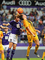 20190912 - Anderlecht , BELGIUM : Anderlecht's Sheryl Merchiers (5) and BIIK-Kazygurt's Imani Chebel (2) are pictured during the female soccer game between the Belgian Royal Sporting Club Anderlecht Dames  and BIIK Kazygurt from Shymkent in Kazachstan, this is the first leg in the round of 32 of the UEFA Women's Champions League season 2019-20120, Thursday 12 th September 2019 at the Lotto Park in Anderlecht , Belgium. PHOTO SPORTPIX.BE | SEVIL OKTEM