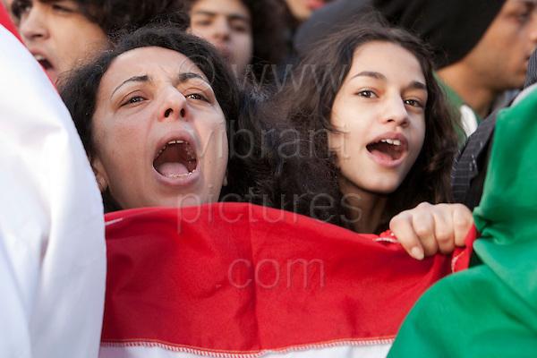 LONDON, ENGLAND - Egyptians celebrate the end to the Mubarak regime in Trafalgar Square