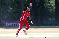 Muhammad Irfan of Hornchurch celebrates taking the wicket of Bilal Patel during Wanstead and Snaresbrook CC vs Hornchurch CC, Shepherd Neame Essex League Cricket at Overton Drive on 30th June 2018