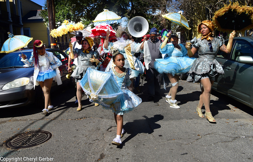 Pinky Harris leads the Traditional Baby Dolls through Treme on Mardi Gras Day, 2018
