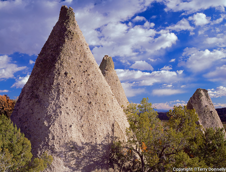 Tent Rocks National Monument, NM &copy;Terry Donnelly /<br /> Cone shaped rocks of eroded volcanic ash form the white cliffs of Peralta Canyon -<br /> Kasha-Katuwe Tent Rocks National Monument