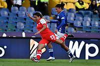 BOGOTÁ-COLOMBIA, 03-08-2019: Sara Páez de Millonarios y Natalia Torres de Independiente Santa Fe disputan el balón, durante partido entre Millonarios y el Independiente Santa Fe de la fecha 4 por la Liga Femenina Águila 2019  jugado en el estadio Nemesio Camacho El Campín de la ciudad de Bogotá. / Sara Paez of Millonarios and Natalia Torres of Independiente Santa Fe figth for the ball, during a match between Millonarios and Independiente Santa Fe of the 4th date for the 2019 Women's Aguila League played at the Nemesio Camacho El Campin Stadium in Bogota city, Photo: VizzorImage / Luis Ramírez / Staff.