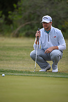 Brice Garnett (USA) lines up his putt on 10 during Round 2 of the Valero Texas Open, AT&amp;T Oaks Course, TPC San Antonio, San Antonio, Texas, USA. 4/20/2018.<br /> Picture: Golffile | Ken Murray<br /> <br /> <br /> All photo usage must carry mandatory copyright credit (&copy; Golffile | Ken Murray)