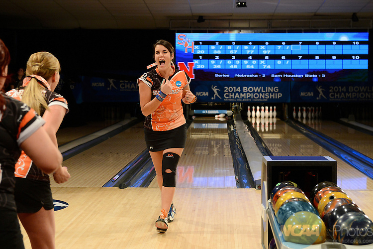 12 APR 2014:  Rebecca Pittser from Sam Houston State University reacts after picking up the spare during the Division I Women's Bowling Championship held at Game of Wickliffe in Wickliffe, OH.  Sam Houston State University defeated Nebraska 4-2 for the national title.  Eric Mull/NCAA Photos