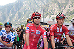 New race leader Red Jersey Nicolas Edet (FRA) Cofidis and Nikias Arndt (GER) Team Sunweb lined up for the start of Stage 9 of La Vuelta 2019 running 99.4km from Andorra la Vella to Cortals d'Encamp, Spain. 1st September 2019.<br /> Picture: Colin Flockton | Cyclefile<br /> <br /> All photos usage must carry mandatory copyright credit (© Cyclefile | Colin Flockton)