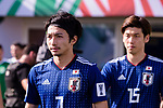 Shibasaki Gaku of Japan (L) enters the pitch prior to the AFC Asian Cup UAE 2019 Group F match between Japan (JPN) and Turkmenistan (TKM) at Al Nahyan Stadium on 09 January 2019 in Abu Dhabi, United Arab Emirates. Photo by Marcio Rodrigo Machado / Power Sport Images