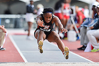 Cydney Leath of Cal State Northridge competes in first round of triple jump during West Preliminary Track & Field Championships at John McDonnell Field, Friday, May 30, 2014 in Fayetteville, Ark. (Mo Khursheed/TFV Media via AP Images)