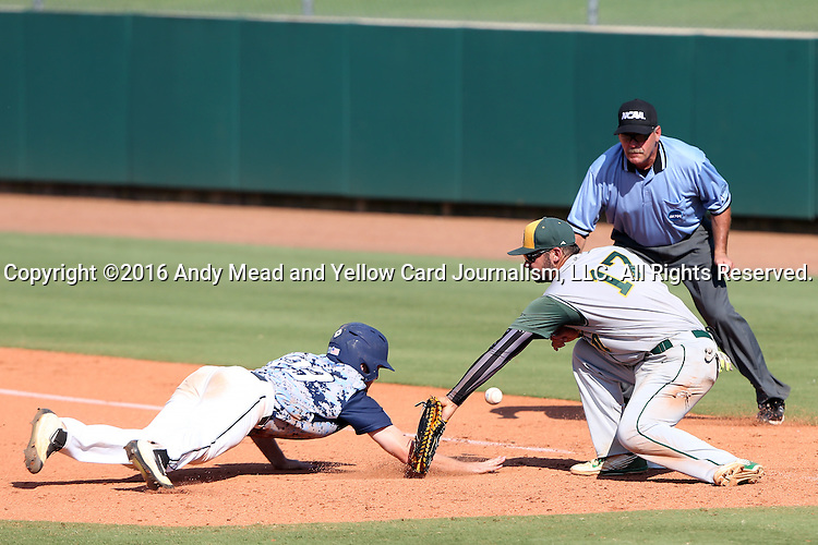 02 June 2016: Nova Southeastern's Daniel Zardon (23) dives back to first base, but the pick-off throw eludes Cal Poly Pomona's Nic Hernandez (17). The Nova Southeastern University Sharks played the Cal Poly Pomona Broncos in Game 11 of the 2016 NCAA Division II College World Series  at Coleman Field at the USA Baseball National Training Complex in Cary, North Carolina. Nova Southeastern won the semifinal game 4-1 and advanced to the championship series.