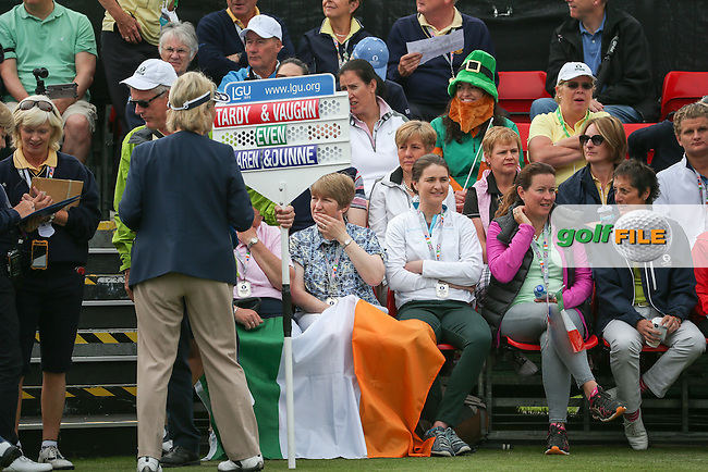 Back of the first tee the Irish flag in force during Friday Foursomes at the 2016 Curtis Cup, played at Dun Laoghaire GC, Enniskerry, Co Wicklow, Ireland. 10/06/2016. Picture: David Lloyd | Golffile. <br /> <br /> All photo usage must display a mandatory copyright credit to &copy; Golffile | David Lloyd.