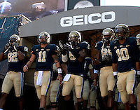 Pittsburgh team takes the field. The Pittsburgh Panthers defeated the Syracuse Orange 37-10 at Heinz Field, Pittsburgh Pennsylvania on November 7, 2009..