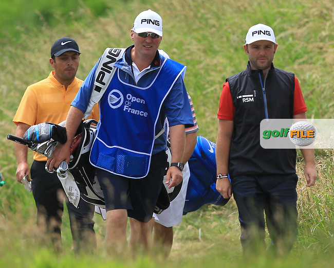 Andy Sullivan (ENG) and Francesco Molinari (ITA) walking off the 7th tee during Round 3 of the 100th Open de France, played at Le Golf National, Guyancourt, Paris, France. 02/07/2016. <br /> Picture: Thos Caffrey | Golffile<br /> <br /> All photos usage must carry mandatory copyright credit   (&copy; Golffile | Thos Caffrey)