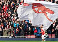 Arsenal's Pierre-Emerick Aubameyang celebrates scoring his side's second goal <br /> <br /> Photographer David Shipman/CameraSport<br /> <br /> The Premier League - Arsenal v Burnley - Saturday 22nd December 2018 - The Emirates - London<br /> <br /> World Copyright © 2018 CameraSport. All rights reserved. 43 Linden Ave. Countesthorpe. Leicester. England. LE8 5PG - Tel: +44 (0) 116 277 4147 - admin@camerasport.com - www.camerasport.com