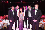 Breast Cancer Care Charity Fashion Show.<br /> Wales Millennium Centre.<br /> Casualty star and host for the evening Amanda Mealing with Wales rugby stars James Hook, Dan Lydiate,  Rhys Priestland, Mike Phillips and Jonathan Davies.<br /> 05.03.14<br /> <br /> &copy;Steve Pope-FOTOWALES