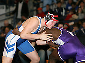 Steven Butler and Christian Boley wrestle at the 189 weight class during the NY State Wrestling Championships at Blue Cross Arena on March 8, 2008 in Rochester, New York.  (Copyright Mike Janes Photography)