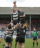11 March 2013; action during the Medallion Shield Final between Wallace High School and Campbell College at Ravenhill, Belfast, DICKSONDIGITAL