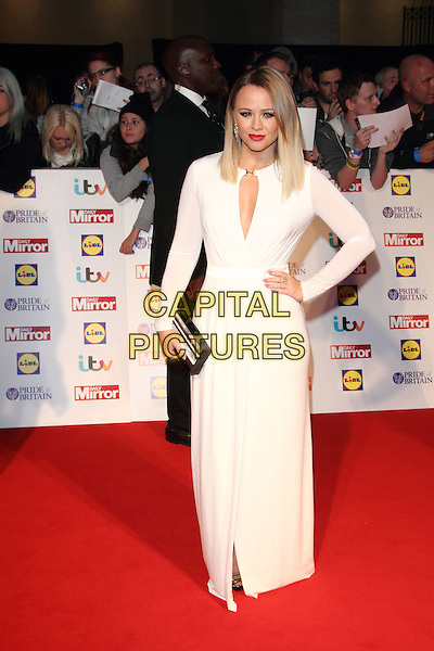 Kimberley Walsh<br /> The Daily Mirror's Pride of Britain Awards arrivals at the Grosvenor House Hotel, London, England.<br /> 7th October 2013<br /> full length dress white sheer cut out away hand on hip black silver clutch bag<br /> CAP/ROS<br /> &copy;Steve Ross/Capital Pictures